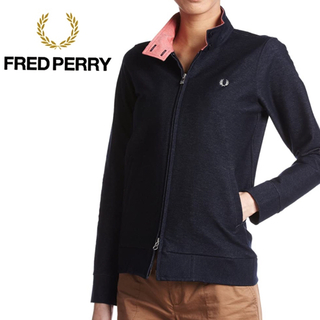 フレッドペリー(FRED PERRY)の【美品】FRED PERRY ストレッチデニム ハリントン ジャケット ネイビー(ブルゾン)