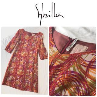 シビラ(Sybilla)の美品♢シビラ sybilla 日本製 ウール混美ライン膝丈ワンピース(ひざ丈ワンピース)