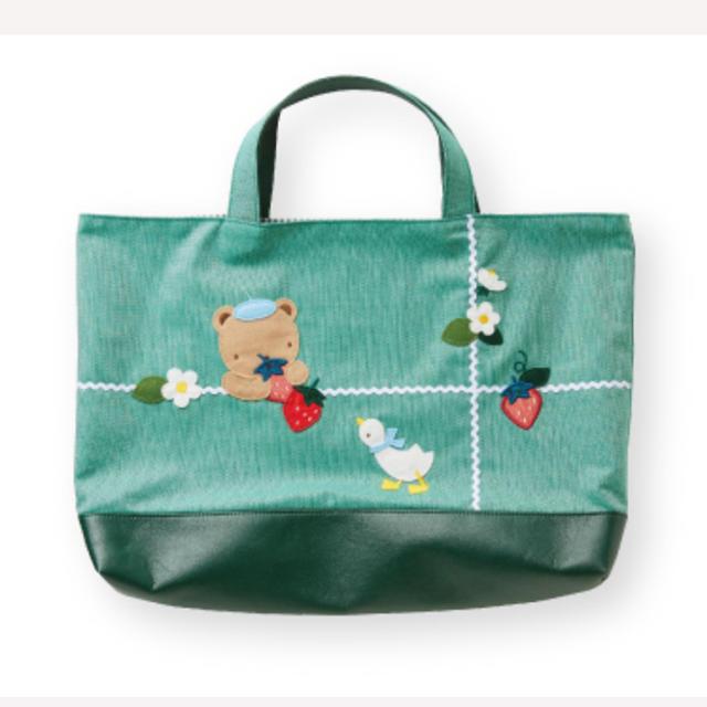 familiar(ファミリア)のファミリア デニムバッグ グリーン キッズ/ベビー/マタニティのこども用バッグ(レッスンバッグ)の商品写真