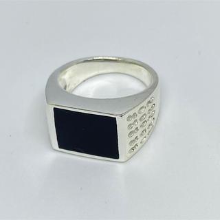 印台 オニキス シルバー925リング ピンキー ギフト 銀指輪スクエア四角ハンコ(リング(指輪))