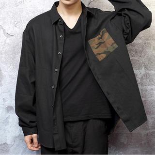 ギャルソンウェーブ(Garcon Wave)の新品 定価10780円 ギャルソンウェーブ 秋冬 ビッグシャツ 黒 ブラック M(シャツ)