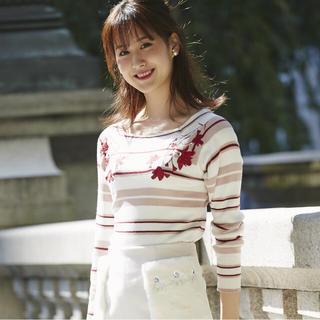 トッコ(tocco)のtocco closet☆美品 フラワー刺繍レトロボーダーニットプルオーバー(ニット/セーター)
