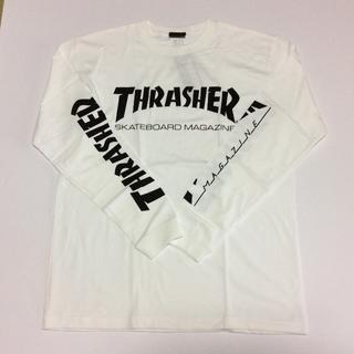 スラッシャー(THRASHER)のTHRASHER ロンTシャツホワイト Lサイズ スラッシャー スケボー(Tシャツ/カットソー(七分/長袖))