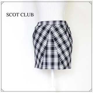 スコットクラブ(SCOT CLUB)のスコットクラブ★バックリボン チェック柄 ミニスカート 9号(M) 黒(ミニスカート)