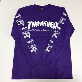 スラッシャー(THRASHER)のTHRASHER ロンTシャツ パープル Lサイズ スラッシャー スケボー(Tシャツ/カットソー(七分/長袖))