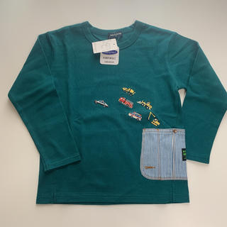 kladskap - クレードスコープ 働く車サイドポケット長袖Tシャツ 120 モスグリーン