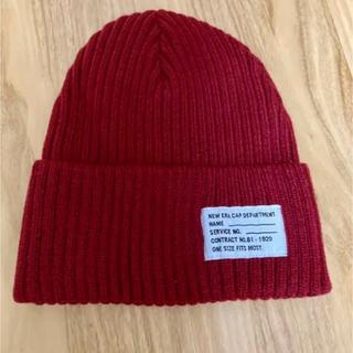 ニューエラー(NEW ERA)のニューエラ NEWERA ニット帽 ビーニー 赤  未使用品 フリーサイズ(ニット帽/ビーニー)