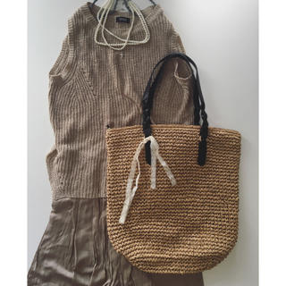 H&M - B. 未使用 フランス アンティーク リボン付き ビッグ バッグ かごバッグ