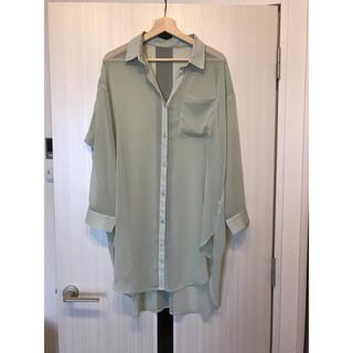 GU - 限定セール!GU シアーロングシャツ グリーン Mサイズ
