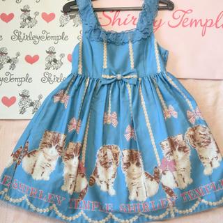 Shirley Temple - シャーリーテンプル 子猫柄ジャンパースカート 110