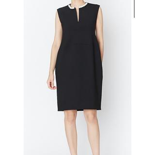 ヨーコチャン パールスリットライン ドレス ワンピース 黒 40