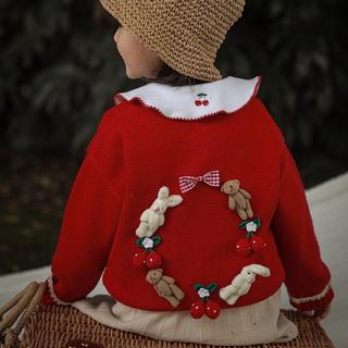 新作 丸襟 さくらんぼ 刺繍 前2個ボタン ブラウス 長袖 トップス インナー