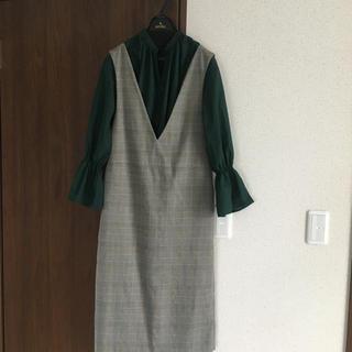 GU - GU グレンチェックジャンパードレス ワンピース