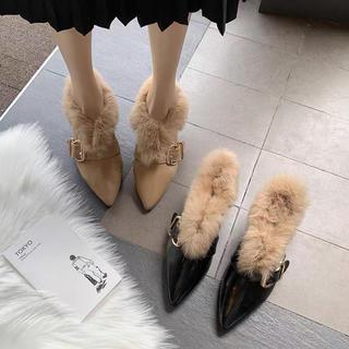 ブーティー ブーツ ショートブーツ ミュール パンプス ファー インポート