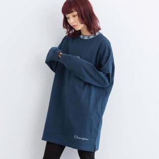 エックスガール(X-girl)の数回のみ Championコラボ モックネック 長袖Tシャツ(Tシャツ(長袖/七分))