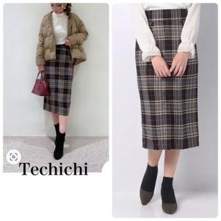 テチチ(Techichi)の【新品未使用】チェック柄ロングスカート タイトスカート テチチ(ロングスカート)