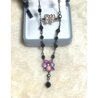 ANNA SUI - ANNA SUI✿*:お花ネックレスと、🦋フリーサイズリングセット