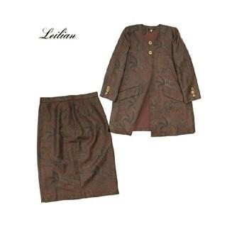 レリアン(leilian)のレリアン■ウール セットアップ スカートスーツ レトロ 総柄 膝丈(スーツ)