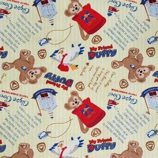 ダッフィー(ダッフィー)のキャンバス生地 帆布 イエローストライプ ダッフィー*143㎝×50㎝(生地/糸)