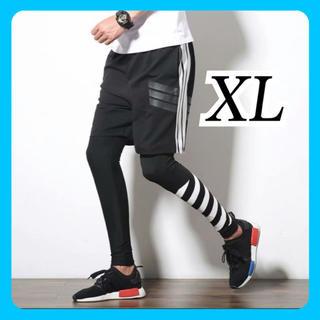 ランニングウェア メンズ 男女兼用 2点セット レギンス ハーフパンツ XL(レギンス/スパッツ)