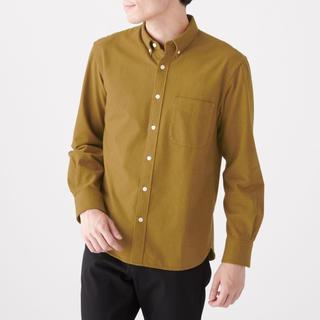ムジルシリョウヒン(MUJI (無印良品))の新疆綿フランネルボタンダウンシャツ 紳士M・ダークマスタード(シャツ)