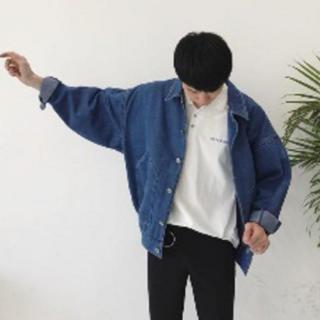 デニムジャケット メンズ ビックシルエット Gジャン ジージャン 長袖 M (Gジャン/デニムジャケット)