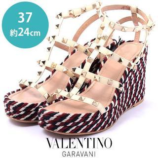 VALENTINO - ヴァレンティノ ロックスタッズ ウェッジソールサンダル  37(約24cm)