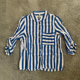 【未着用】Stradivarius ストライプシャツ/ブルー(シャツ/ブラウス(長袖/七分))