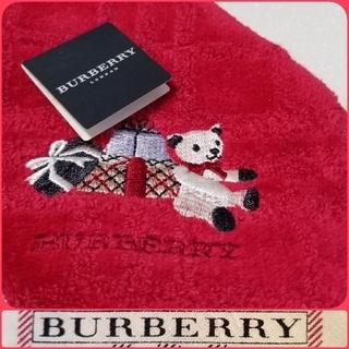 BURBERRY - BURBERRYタオルハンカチ*フレンチレッド