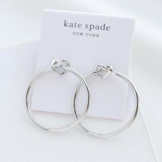 kate spade new york - 【新品♠︎本物】ケイトスペード ラブミーノットフープピアス シルバー