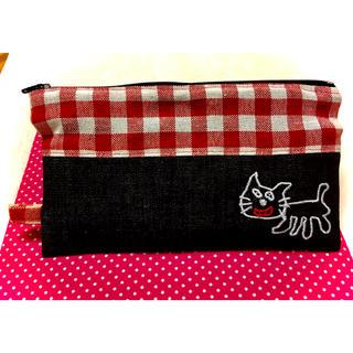 キヨ キヨ猫ペンケース ポーチ 刺繍 レトルト(ペンケース/筆箱)