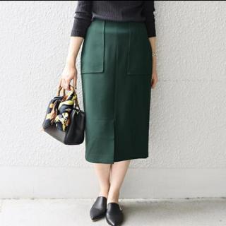 シップスフォーウィメン(SHIPS for women)のダブルクロスポケットタイトスカート SHIPS グリーン 38(ひざ丈スカート)