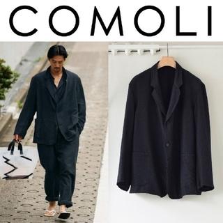 コモリ(COMOLI)の新品■COMOLI ウールシルク テーラードジャケット 3 ネイビー(テーラードジャケット)