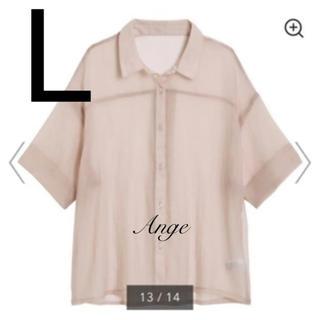 GU - GU シアーオーバーサイズシャツ(5分袖) ピンク L