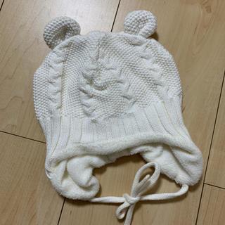 エイチアンドエム(H&M)のベビー ニット帽 白 H&M(帽子)