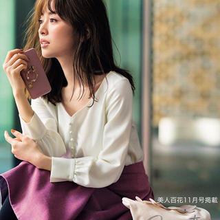 PROPORTION BODY DRESSING - ハートネックフロント釦パフブラウス 泉里香さん着用 雑誌掲載 ホワイト Mサイズ