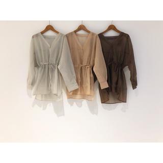カスタネ(Kastane)のkastane  オーガンジーBIGシャツ  brown(シャツ/ブラウス(長袖/七分))