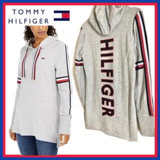 トミーヒルフィガー(TOMMY HILFIGER)の日本未入荷★トミー フィルフィガー ロゴ プルオーバー グレーUS/XSサイズ(パーカー)
