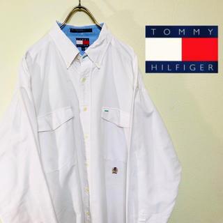トミーヒルフィガー(TOMMY HILFIGER)の90s トミーヒルフィガー BDシャツ 白 ビッグシルエット 刺繍ロゴ L(シャツ)