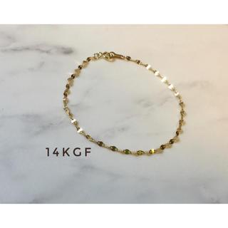 14kgf ペタルチェーンブレスレット ゴールドブレスレット キラキラ シンプル(ブレスレット/バングル)