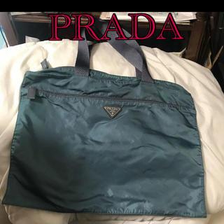 PRADA - 【正規品・破格・白タグ・人気カラーモスグリーン】PRADA/プラダ トートバッグ