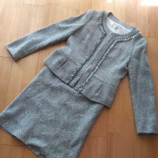 ミッシェルクラン(MICHEL KLEIN)のミッシェルクラン グレー系 ツィード スカートセットアップ サイズ40(スーツ)