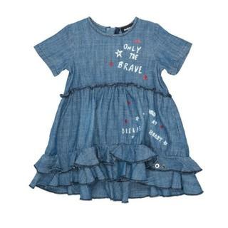 ディーゼル(DIESEL)のDIESEL ベビー服 デニムワンピース 女の子 フリルスカート 80 保育園(ワンピース)