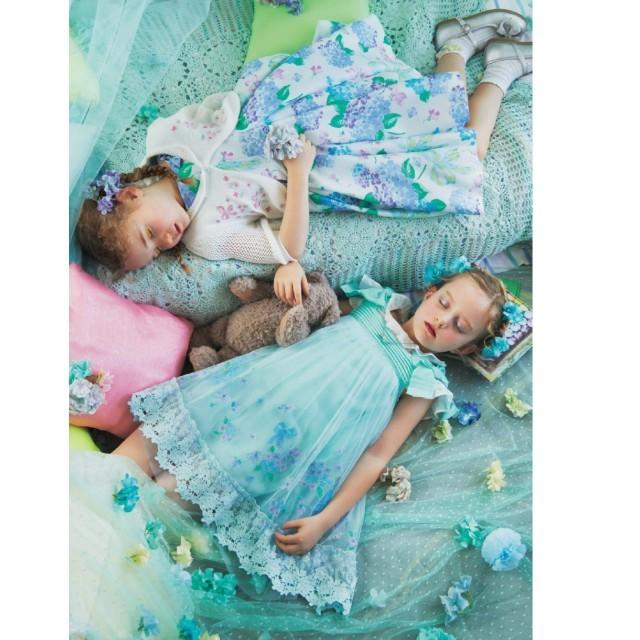 mezzo piano(メゾピアノ)のメゾピアノ アジサイ刺繍ワンピース キッズ/ベビー/マタニティのキッズ服女の子用(90cm~)(ワンピース)の商品写真