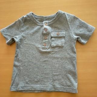 ベルメゾン(ベルメゾン)の100cm ボタンつきTシャツ デザインTシャツ グレー(Tシャツ/カットソー)