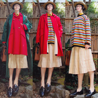 サイ(Scye)の日本製 scyeサイ リネン混チェックプリーツロングスカート ベージュジャガード(ロングスカート)