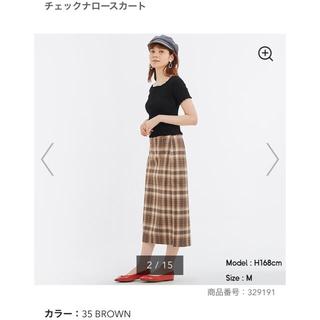 ジーユー(GU)のGU チェックナロースカート(ひざ丈スカート)