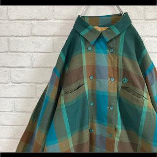 クリスチャンディオール(Christian Dior)のクリスチャンディオール Dior チェックシャツ 長袖 緑 M 90s(シャツ)