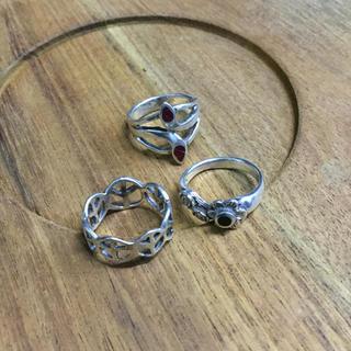 【3点セット】タイ シルバー リング 4号 ピンキーリング(リング(指輪))