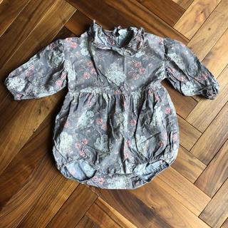 こどもビームス - 韓国子供服 ロンパース フリル 花柄 グレー 70 80 クラシカルロンパース